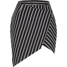 Navy stripe asymmetric zip skirt - skirts - sale - women