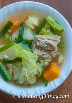 Pork Nilaga with Kalabasa is an easy Filipino Pork Soup. It is composed of pork shoulder, potato, Calabaza squash, cabbage, and green onions. It is simply delicious.