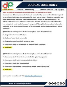 #DP   Logical Question For IBPS Clerk Mains   06 - 01 - 2018  http://www.mahendraguru.com/2018/01/dp-logical-question-for-ibps-clerk6.html