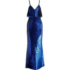 ASHISH  Sequined silk gown ($1,460) ❤ liked on Polyvore featuring dresses, gowns, sequined dress, silk gown, sequin gown, sequin ball gown and blue evening dresses