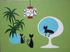 Mid Century Modern Art, Mid Century Art, Illustrations, Illustration Art, Black Cat Art, Black Cats, Cat Decor, Vintage Cat, Retro Art