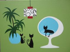 Mid Century Modern Art, Mid Century Art, Black Cat Art, Black Cats, Cat Decor, Collage, Vintage Cat, Illustrations, Retro Art