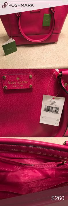NWT KATE SPADE ♠️ NEW WITH TAGS retails for 349.00! Kate spade camryn wellesley sweetheart pink purse. See photos for measurements. Made of 100% cow leather and lining is polyester. Also included with the purse is the care booklet it came with. Purse zips shut and on the inside has a zippered pocket and two open pockets on the side. Very pretty purse! kate spade Bags Shoulder Bags