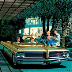 The artwork of Art Fitzpatrick and Van Kaufman Pontiac Advertisement Illustrations of the 1960's.