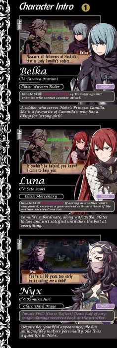 Character introduction of the Nohr side. (Fire Emblem: If)