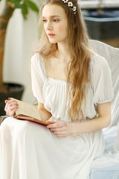renaissance+nightgown | White Chiffon Sweet Long Nightgown...