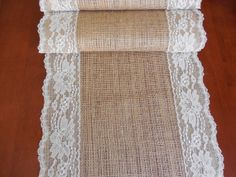 Burlap table runner wedding table runner with vintage ivory lace rustic romantic wedding on Etsy, $19.00
