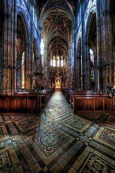 Inside of the Votive Church (Votivkirche Church) in Vienna, Austria.