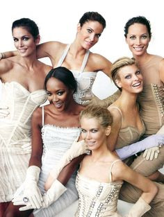 supermodel icons:Cindy Crawford, Stephanie Seymour, Christy Turlington, Naomi Campbell, Linda Evangelista, Claudia Schiffer