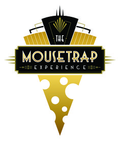 The Mousetrap Experience. New logo design for an opulent, art deco neighborhood cheese shop, selling cheese to local suburban communities as well as online - the shop is in the style of Gatsby, Deco, Erte, George Barbier and Edward Gorey as a tribute to Agatha Christie and Jazz Age Detectives.