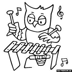 free animals playing musical instruments coloring pages color in this picture of an owl playing a xylophone and others with our library of online coloring