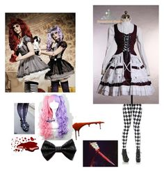 """Killer gothic Lolita"" by insaneredpandagirl ❤ liked on Polyvore featuring Leg Avenue and Naoto"