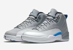 "The Air Jordan 12 ""UNC"" carries a white and grey color palette with pops of Carolina blue"