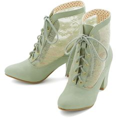 Bait Footwear Pastel, French Lace Against Time Bootie (515 ARS) ❤ liked on Polyvore featuring shoes, boots, ankle booties, heels, footwear, mint, bootie, boot - bootie, heeled bootie and victorian ankle boots