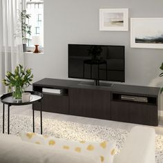 It's not only the TV that's smart! BESTÅ TV benches combine contemporary good looks with practical function. You get lots of storage space and relief from cables that tend to get messy and gather dust. Tv Banco, Besta Tv Bank, Plastic Foil, Ikea Family, Knobs And Handles, Steel Doors, Drawer Fronts, My Living Room, Interior Accessories