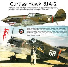 """Curtiss Hawk 81A-2 - CAF """"68"""" pilotato da Charles H. Older, 3rd Pursuit Squadron, American Volunteer Group (Flying Tiger), Kumming, Cina, Maggio 1942"""