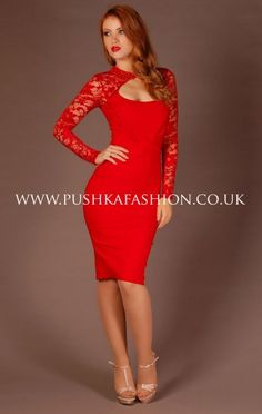 Tempest Red Lace Sleeved Dolly Dress