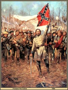 """""""Forward the Colors"""" by Don Troiani. With this painting, Troiani depicts the soldiers of the Army of Tennessee in 1864. The regiment or brigade is not known, only that these men have been through many a campaign and many a fight. They march into the fray once again."""