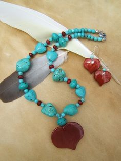 Red Jasper Heart with Blue Turquoise Set, Beautiful Bright and Bold Colours .. one only :)