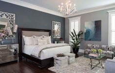 Good Information : Best Bedroom Colors Psychology best bedrooms colors, best bathrooms colors, cozy colors bedroom, best bedroom paint, best master bedroom color Blue Accent Walls, Accent Wall Bedroom, Blue Accents, Mirror Bedroom, Wall Mirror, Wainscoting Bedroom, Bedrooms With Accent Walls, Bedroom Bed, Wood Wainscoting