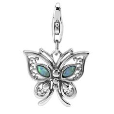 Rhodium Plated Sterling Silver Butterfly and Lab Opal Charm with Lobster Clasp, Width 3/4 Inch, Length 1 1/4 Inch , It Is a Nice Pendant ARG http://www.amazon.com/dp/B0091LO54Q/ref=cm_sw_r_pi_dp_SP7Dwb1E393W2