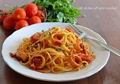 Pasta con calamari,spaghetti con calamari,sugo di calamari,primi veloci,primi di pesce,le ricette di tina