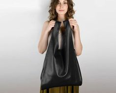 Shopper-style-carry-all bag made from soft leather