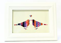 Love Bird Silhouette Art Collage Recycled Paper Kissing Birds Wall Art
