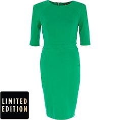 Green 3/4 sleeve structured bodycon dress - bodycon dresses - dresses - women