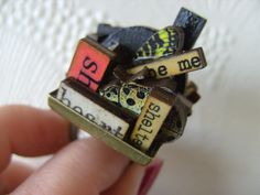 The MOST WhImSiCaL Ring wood wooden letters Alice by NewellsJewels, £18.00