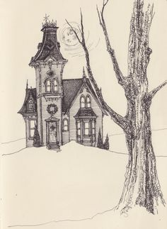 The Haunted House - Spooky Halloween Print by Leigh Anita