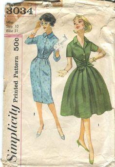 Simplicity 3034 Vintage 50s Shirtwaist Dress Pattern by bellaloona, $12.00