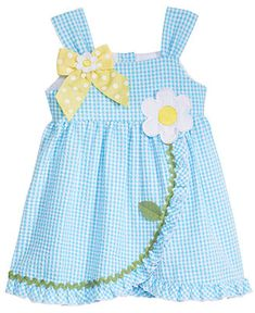 Shop Bonnie Baby Seersucker Dress, Baby Girls online at Macys.com. An oversized daisy appliqué finishes the picture-perfect style of this charming seersucker sundress from Bonnie Baby.