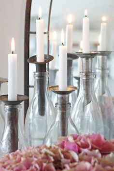 DIY candle holders using vintage oil spouts and small mouthed glass jars Chandeliers, Bottles And Jars, Glass Bottles, Small Bottles, Candle In The Wind, Little Corner, Centerpieces, Table Decorations, Light My Fire