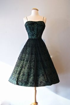 1950s Dress // Vintage 50s Floral Lace Cocktail by xtabayvintage, $348.00