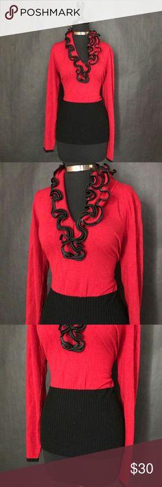 Belldini Top Sweater Ruffle Collar Sz L Belldini Women's Top Sweater Ruffle Collar Size Large  Material 80% Viscose 15% Nylon 5% Spandex  Measurement Length: 26 Inches Bust: 40 Inches(Material Stretches) Belldini Sweaters V-Necks