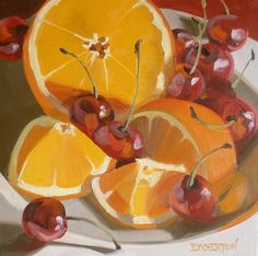 """""""Cherries and Oranges"""" - Leigh-Anne Eagerton, oil on canvas {contemporary artist fruit food still life painting}"""