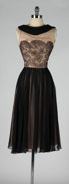 vintage 1950s dress . black lace illusion . by millstreetvintage