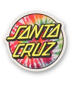 Santa Cruz Tie Dye Skateboard Sticker x New Hippy Flower Power Stickers