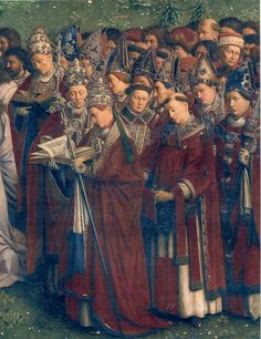 popes and bishops, Ghent Altarpiece (detail), Jan van Eyck