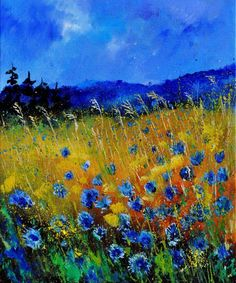 """Corn Flowers by Pol Ledent [Oil, Painting] Fantastic use of color! About the Artist: Pol Ledent born in Belgium, 23 October 1952 - started painting in 1989 - living in Houyet Belgium Art Amour, Art Design, Design Model, Interior Design, Landscape Art, Landscape Paintings, Landscape Glass, Landscape Timbers, Landscape Design"