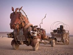 "UFO Artist ‏@UFOartist 21.3.14 shared via Twitter  ""Rustang Sally"" by Mutoid Waste Company ( Burning Man ) #art #sculpture pic.twitter.com/A6JyIpVXx7"