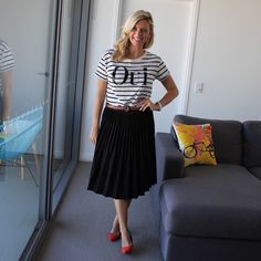 Saying oui! to today's @icurvy #rulebreakersclub #stylechallenge of 'graphic tee'. @sportsgirl tee (not current)   French Connection pleated skirt (current)   @zara colour block heels (from NYC) . . #everydaystyle #casualfriday #teamstripes  #whatbrookewore  #ootd #wiwt #fblogger #30plusstyle #brisbanefashionblogger #brisbanestyle #pretty #corporatestyle  #brisbaneblogger #styleblogger #lookoftheday #style #instastyle #instafashion #outfitpost #igstyle #mystyle #whatiwore #mylook…