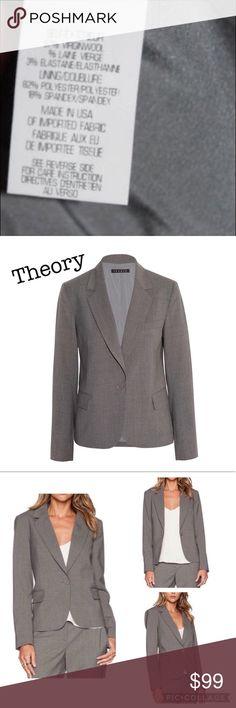 Theory Gabe Blazer Theory Gabe Blazer one button. Front pockets, NWT, warm gray color. Size 6 Theory Jackets & Coats Blazers