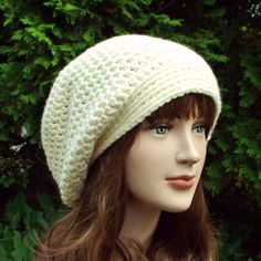 Cream Slouch Beanie  Womens Slouchy Crochet by ColorMyWorldCrochet