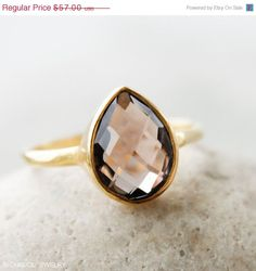 BOXING DAY SALE Sale - Gold Smokey Quartz Ring - Teardrop - Stacking Ring, Hammered Band