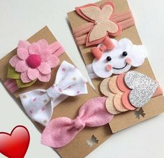 Felt Hair Bows, Diy Hair Bows, Diy Bow, Diy Ribbon, Diy Baby Headbands, Felt Headband, Baby Bows, Felt Crafts Diy, Felt Diy