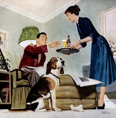 """""""I thought I was his favorite.""""~ 1952 Schlitz Beer ad illustrated by Lyman Anderson."""