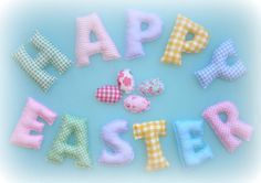 Easter Fabric letter name banner PASTEL by LittleFairyCottage, $55.00