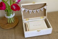 Burlap and Lace CARDS Box with Bunting Banner by BordenSpecifics, $41.00